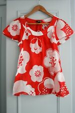 H&M Ladies 100% Cotton Top - Summer Red Floral Print - size 8