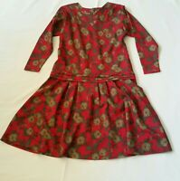 Vintage Lightweight Wool Dress Red with Autumn Floral Medium Long Sleeves