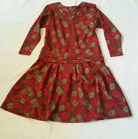 Vtg  80s Red Brown Floral Lightweight Wool Midi Dress M Long Sleeves Drop Waist