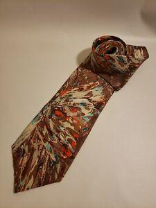 Enrico Capucci Men's Neck Tie Extra Long Brown Teal Swirls 100% Silk Handmade