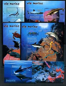 B278 Guinée 2001 Poisson Marine Requin Baleines Tortues Feuilles MNH
