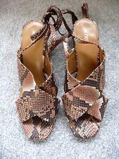 BNWT (£35) NEXT Leopard Print Block Heel Ankle Tie Straps Sandals Size 4