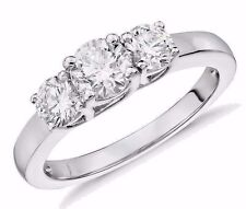 Three-Stone Lab Diamond Ring Engagement Band in 14k White Gold 1.51 Carats T.W