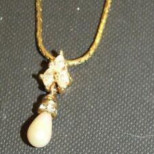 Vintage Christian Dior Goldtone Crystal/Faux Pearl Pendant Necklace