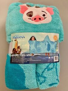 **Brand New** DISNEY MOANA HOODED BATH TOWEL WRAP WITH PUA THE PIG 23x51 TEAL