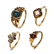 4-Piece Midi Ring Set, Boho Bohemian Hippie, Gypsy Witchy, Golden Knuckle Rings