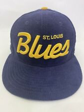 Rare St. Louis Blues Fitted Hat NHL Hockey team Blue Corduroy New Era 7 1/8 Cap