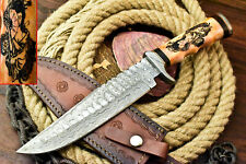 Rare!!! Damascus Hand Forged Custom Laser Etched Bowie Knife | Camel Bone
