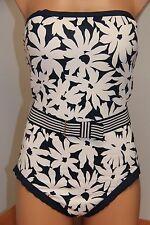 New Anne Cole Swimsuit Bikini 1 one piece Sz 14 Strapless Navy Belt