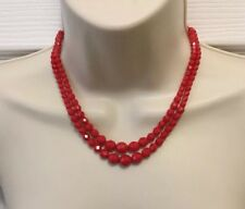 Vintage 1950s Faceted Cherry-Red Milk Glass Bead Two Strand Necklace