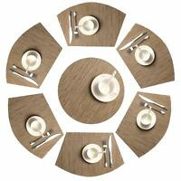 Round Table Placemats Set of 7 Wedge Washable Table mats for Kitchen Table