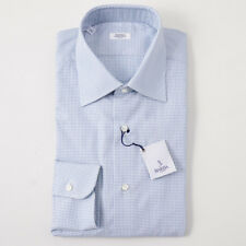 NWT $350 BARBA NAPOLI Green and Blue Dot Pattern Cotton Dress Shirt 15.75 x 36