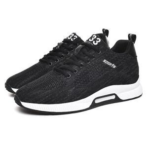 Men Hidden Heel Shoes Increasing Height Sneakers Wedge Trainers Sport Athletics