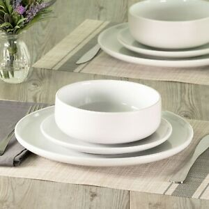 NEW 12 Piece Mainstays Matte White Shine Stoneware Dinnerware Set - Round