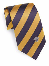NWT Authentic Men's Versace Navy & Yellow Stripe Pattern Italian Silk Tie $145