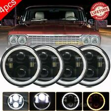 4x 5.75 5-3/4 Round LED Headlights Halo HI-Lo Beam For Chevrolet Corvette Impala