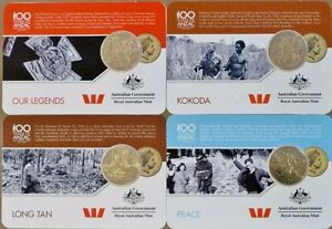 📯SET OF 2016 ANZAC TO AFGHANISTAN NORDIC GOLD 25 CENT QUARTERS RAM CARD ISSUE📯