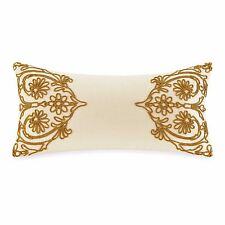 Bombay Arden Oblong Decorative Toss Pillow Ivory Velvet Apricot Gold Embroidery