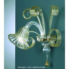 Applique 1 luci in vetro di Murano cristallo oro