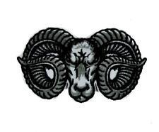 Evil Ram Horns Goat Head Patch Iron on Applique Alternative Clothing Dodge