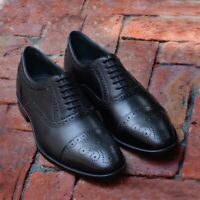 Black Oxfords Dress Shoes Men's Brogues Formal Party Handmade Calf Leather Shoes