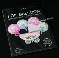 GENDER REVEAL PARTY SUPPLIES DECORATIONS BABY SHOWER BALLOON SET PINK CARRIAGE