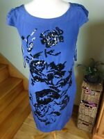 COAST ROYAL BLUE 100 % SILK TUNIC DRESS WITH SEQUINS FLORAL DESIGN SIZE 10