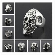 Wholesale Bulk Lots 50PCs Men's Mix Skull Punk Rock Style Retro Jewelry Rings