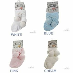 Baby Infants Soft Touch Pom Pom Ankle Sock Pink Blue Boy Girl 0-3 3-6 6-12 12-18