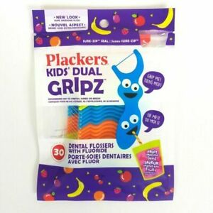 Plackers Kids Dual Gripz Flossers With Fluoride- 30 Count Fruit Smoothie Flavor