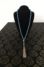 LUCKY BRAND TURQUOISE BEADED NECKLACE TASSLE MIXED METAL GOLD TONE / SILVER TONE