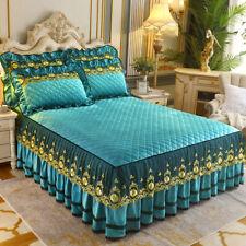 Lace Velvet Bed Sheet Set Queen King Full Size Bedspreads Vintage Quilted Soft