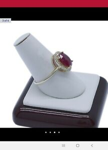 2.85 ct Ruby And Diamond 9ct Yellow Gold Ring w valuation $4,125