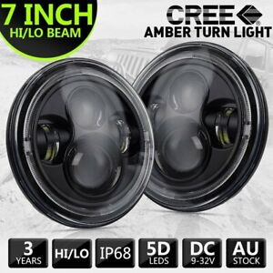 Pair 7''Inch Round LED Headlights Hi/Lo Beam DRL Amber Turn Light for GQ PATROL