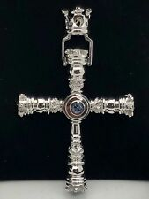 Sterling Silver Royal Crown Cross Pendant with Natural Blue Sapphire Gemstones