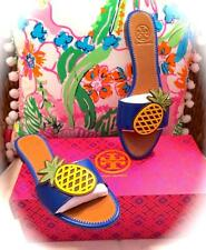 NEW IN BOX *TORY BURCH* ROYAL BLUE PINEAPPLE SANDALS! Flats/Slides! SOLD OUT 6.5