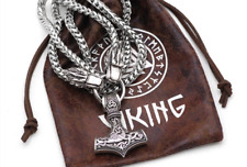 Cabeza de Lobo vikingo con martillo de Thor collar con cadena acero inoxidable