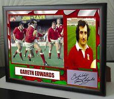 """Gareth Edwards Lienzo Enmarcado Unión de Rugby homenaje impresión firmada """"gran regalo"""""""