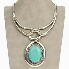 Fantastic Tibetan Silver Oval Turquoise Statement Charm Prom Necklace Pendant