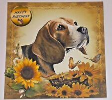 Handmade Greeting Card 3D Birthday With A Beagle Dog And Sunflowers