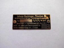 Johann Rockinger AHK Typenschild Schild Anhängekupplung Oldtimer LKW s27