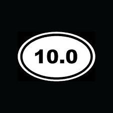 10.0 Sticker Oval Car Window Decal Vinyl White Euro Marathon Run Race 10 mile