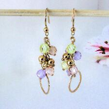 """2"""" Dangle Earrings Amethyst Citrine Peridot Briolette 14K Gold Vermeil Sterling"""