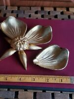 Vintage Flower Ashtray Removable Leaves Individual Gold tone Hollywood Regency