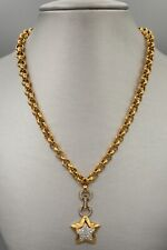Swarovski Crystal Necklace, Gold Tone Star Pendant Chunky Links Signed