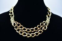 Monet Signed Vintage Necklace Thick Gold Linked Double Chain Collar Chic Bin3