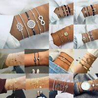 Womens Boho Jewellery Set Rope Natural Stone Crystal Chain Bracelets Anklet Gift