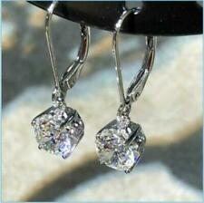 3Ct Round Moissanite Halo Solitaire Drop & Dangle Earrings 14K White Gold Finish