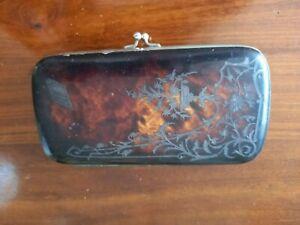 Antique French Tortoise Shell Faux Wallet Cigars Cigarettes Case Art Nouveau