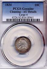 1834 Capped Bust Dime AU PCGS coin coins 10c